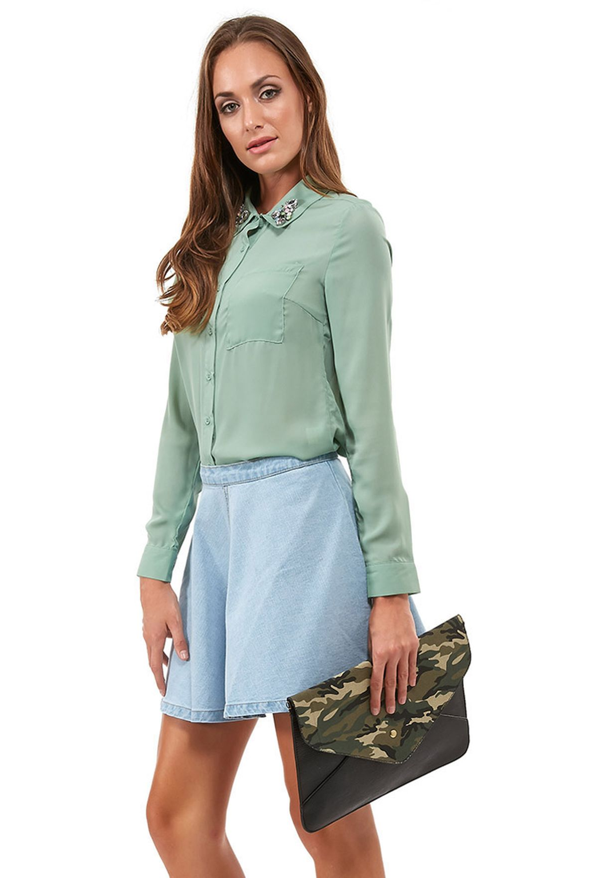 Shop Glamorous Green Beaded Collar Shirt For Women In Globally