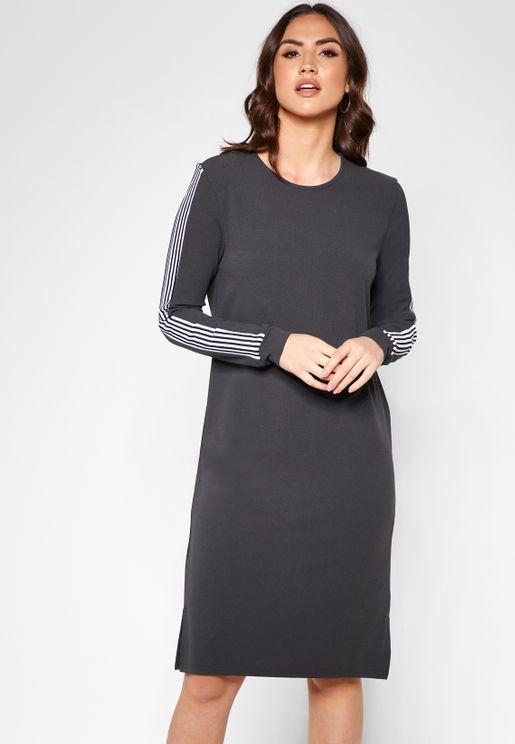 Striped Sleeve Midi Dress