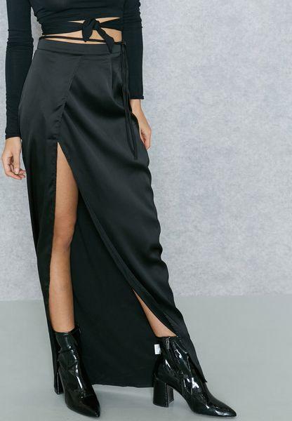 Thigh Split Satin Maxi Skirt