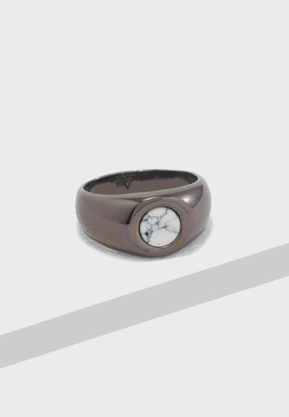 Large Hematite Finish Signet Ring