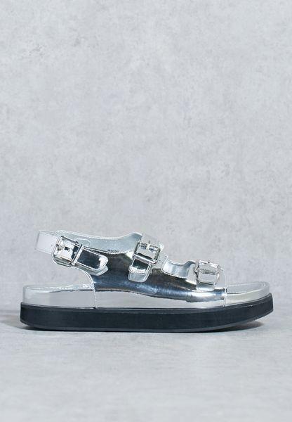 Metallic Two Strap Buckle Sandals