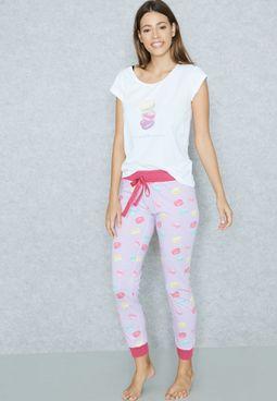 Macroon Print T-Shirt Pyjama Set