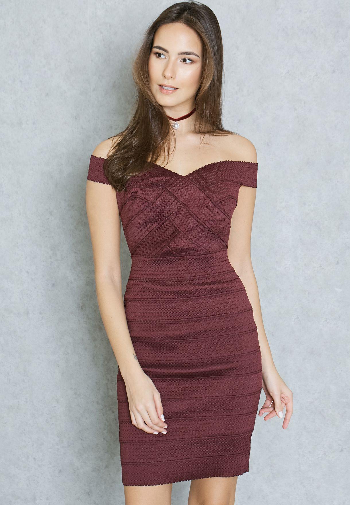 f3ed31283911f Shop New Look burgundy Bandage Dress 390385067 for Women in Bahrain ...