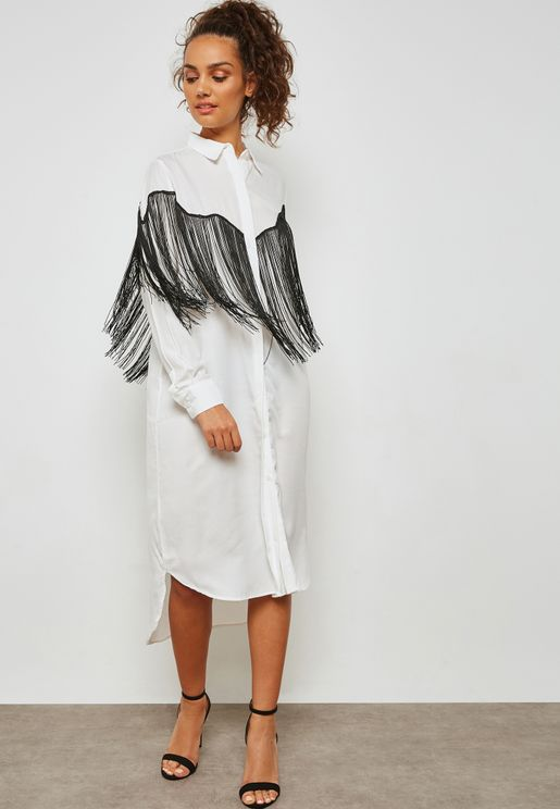 Fringed Paneled Shirt Dress