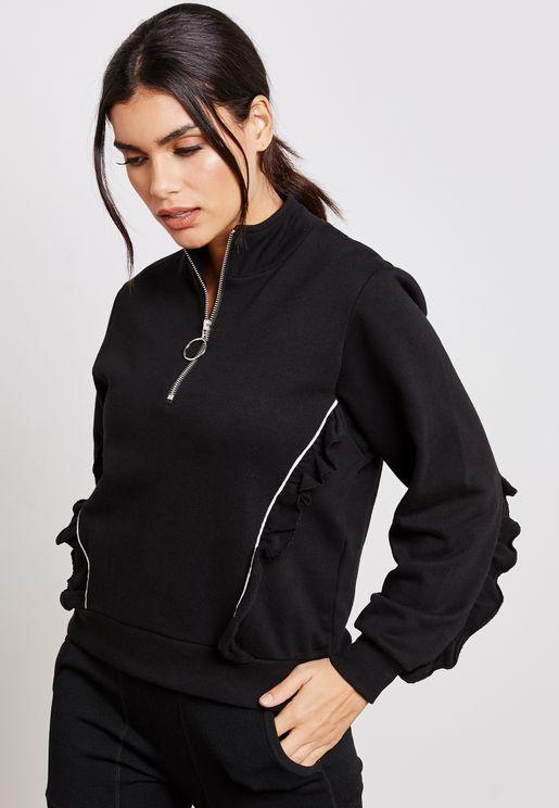 Zip Detail Ruffle Sweatshirt