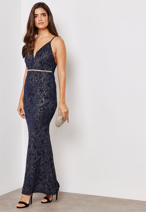 Plunging Cami Maxi Dress