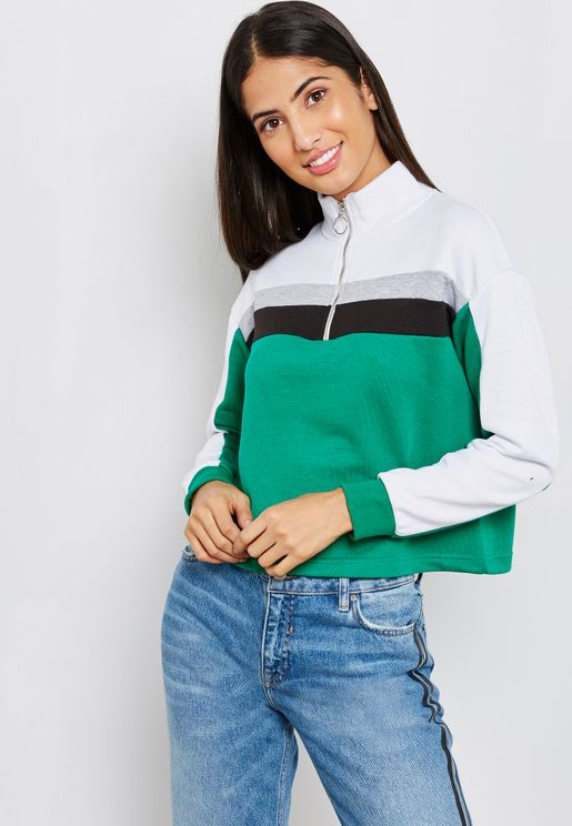 Colourblock Zip Neck Sweatshirt