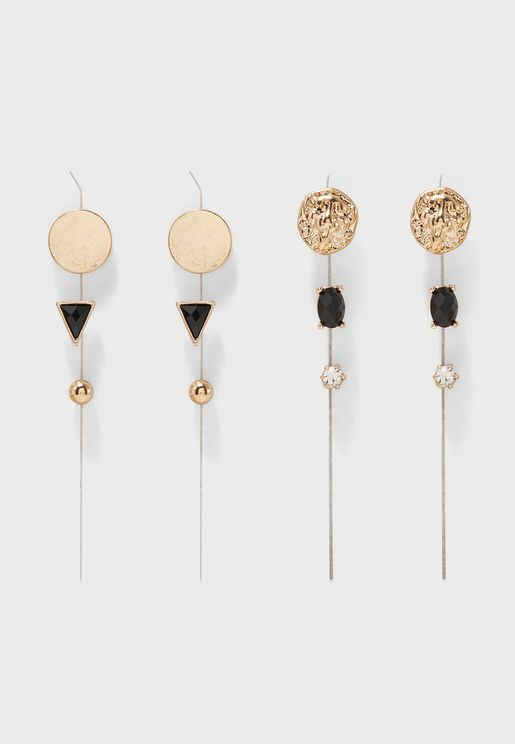 Multipack Lion Head & Glass Stone Detail Earrings
