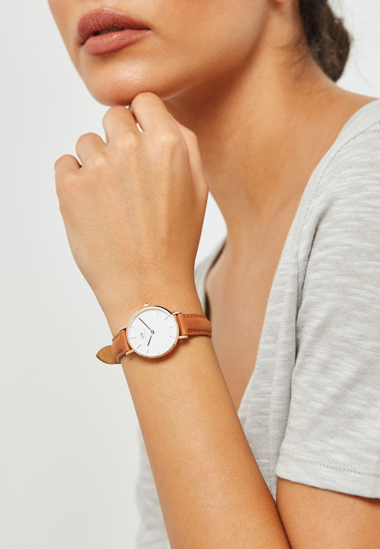 3d21bd56b334 Shop Daniel Wellington browns Durham Classic Watch 28mm Rose Gold ...