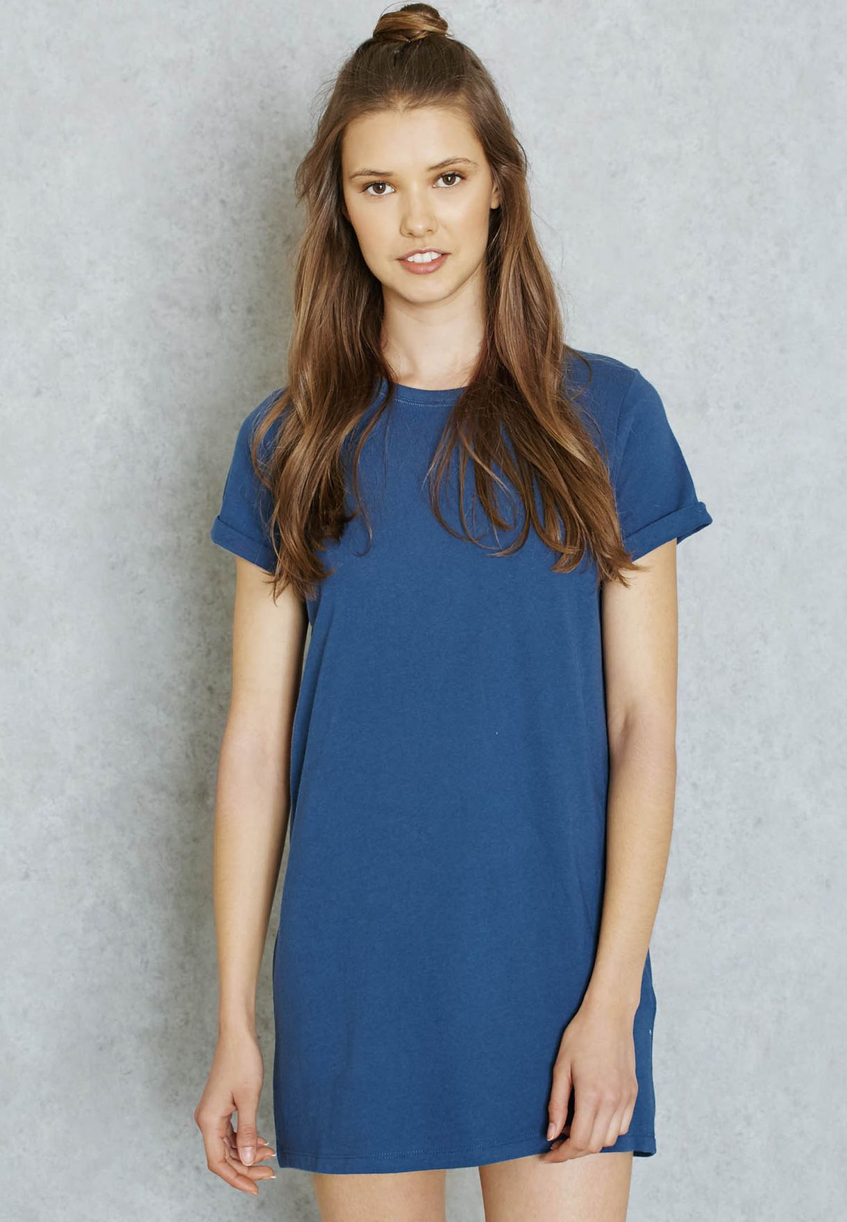 7ec19256d7f Shop Forever 21 blue Essential T-Shirt Dress 221834 for Women in ...