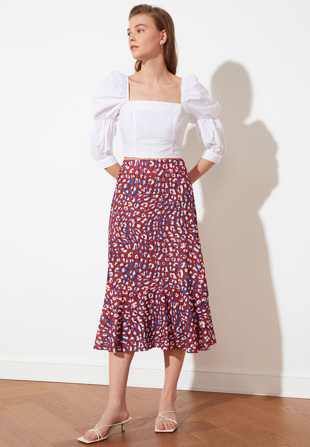 c9b21de899 Shop Trendyol prints High Waist Printed Skirt TWOSS19FG0026 for ...