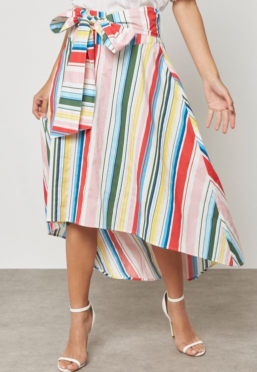 High Low Belted Skirt