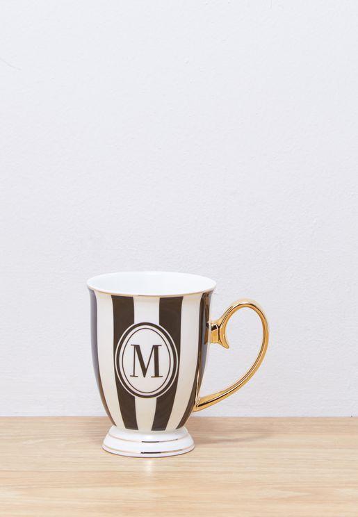 Alphabet Stripy Mug Letter M