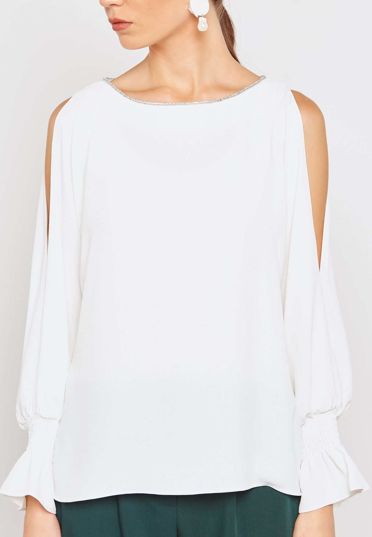 Embellished Neck Sleeve Cut Out Top