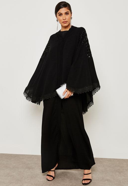 Emroidered Lace Trim Jacket Abaya