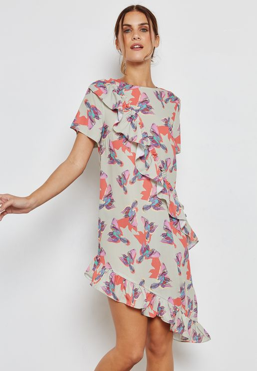 Asymmetric Printed Ruffle Dress