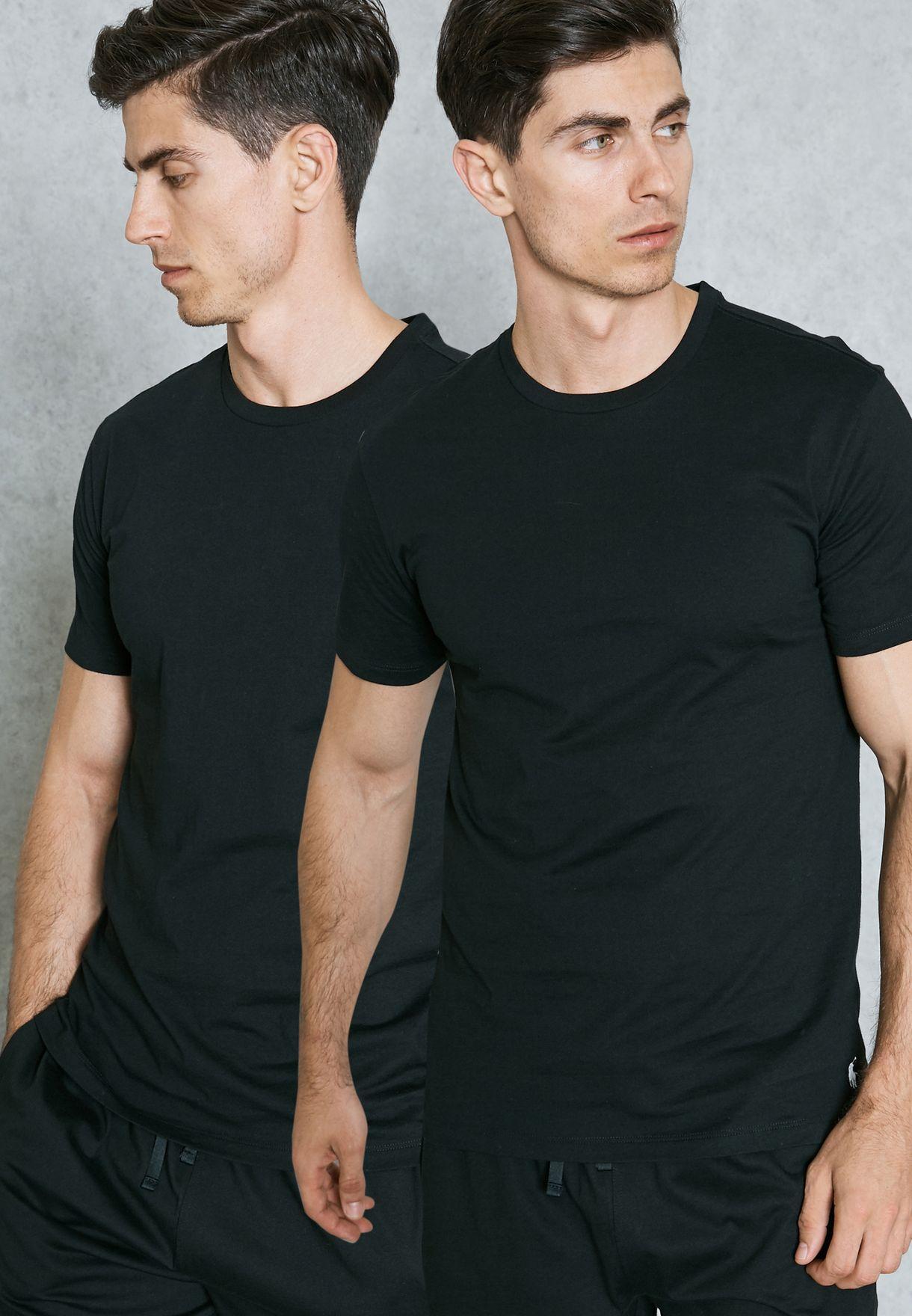 Shop Polo Ralph Lauren black 2 Pack Basic T-Shirt 252U2CRW CRCCT for ... ad2e84dc17b