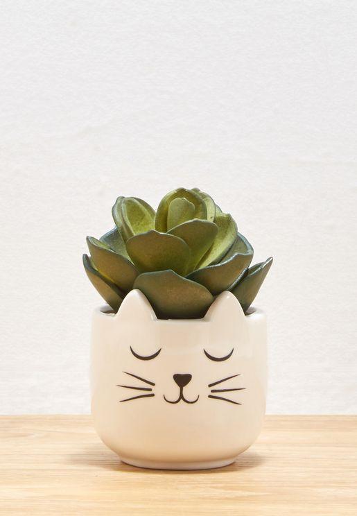 وعاء نباتات بشكل قطة