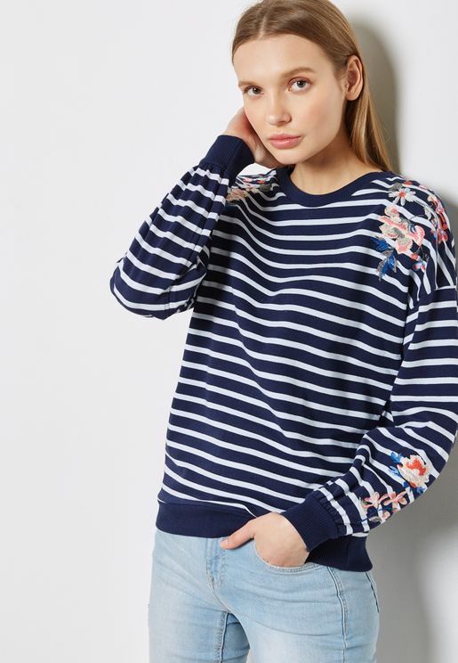 Striped Embroidered Sweatshirt
