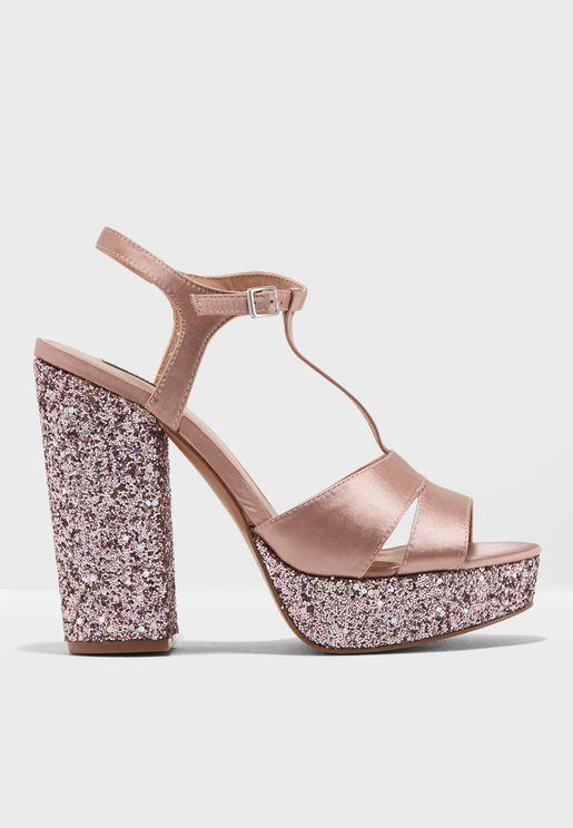 Allie Satin Glitter Heel Sandal