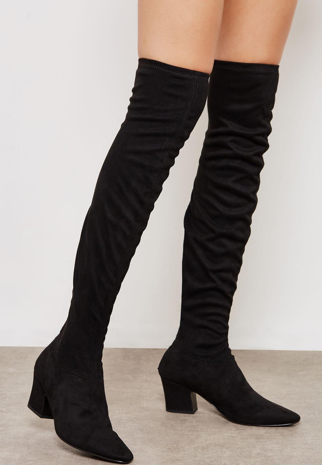 7637cd2dd0d Shop Mango black Robi Knee Boot 33025762 for Women in UAE - MA887SH16ZFF
