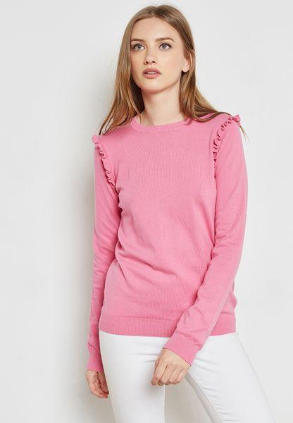 Ruffle Shoulder Sweater
