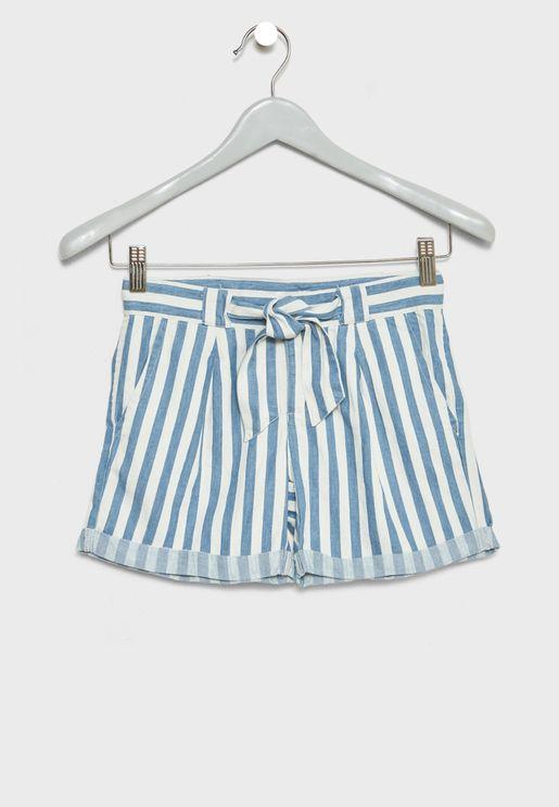 Teen Tie Waist Striped Shorts
