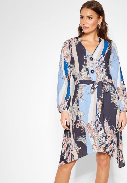 Paisley Print Tie Waist Dress