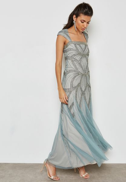 Embellished Ombre Maxi Dress