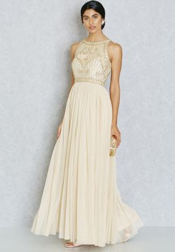 Frock and Frill Embellished Pleated Maxi Gown