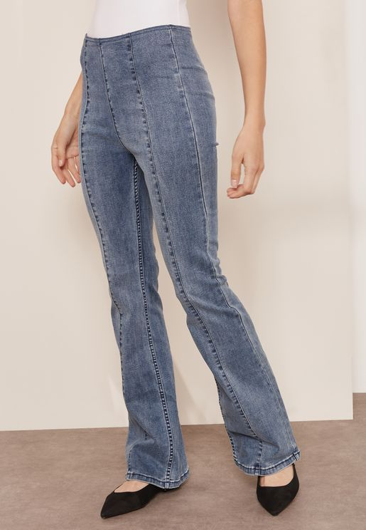 Slim Pull On Flared Jeans