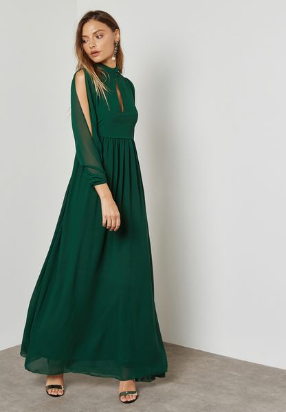 Belted Cold Shoulder Slit Dress