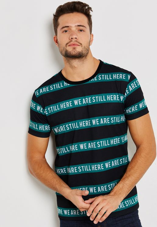 We Are Still Here Striped Crew Neck T-Shirt