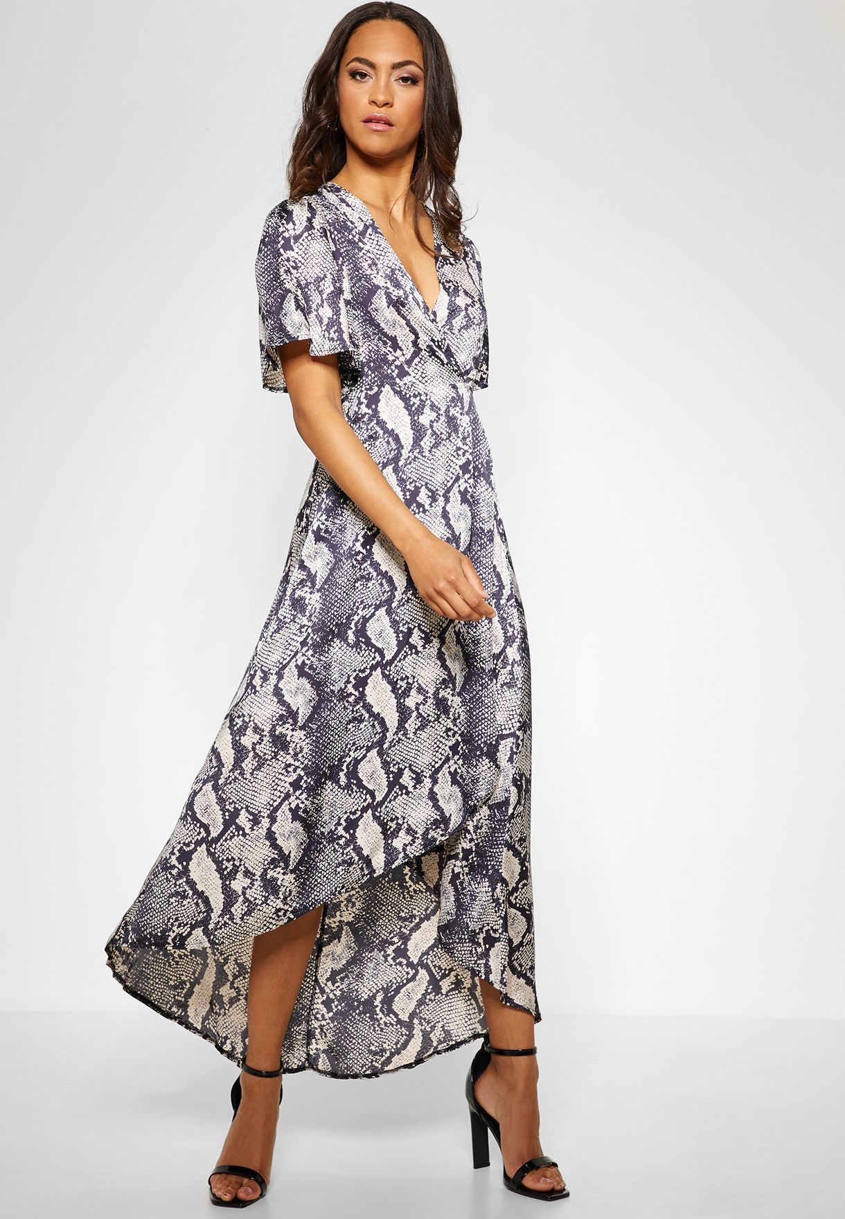 Printed Wrap High Low Midi Dress