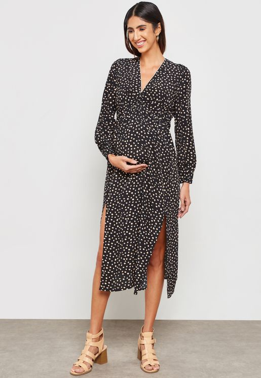 Long Sleeve Ruched Printed Dress
