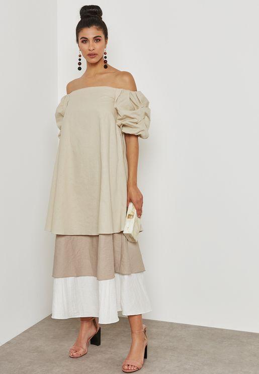 Tiered Bardot Dress