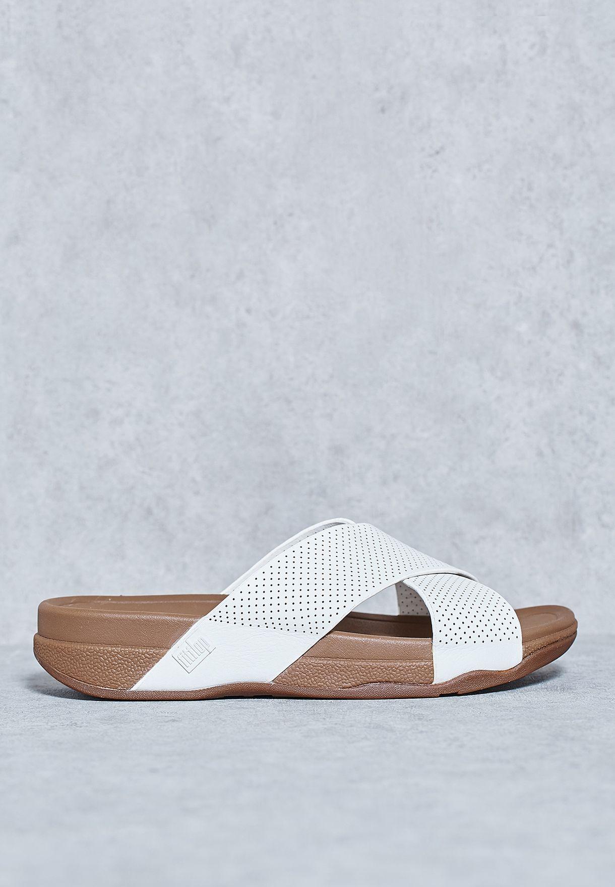 fe70ebe304a6 Shop Fitflop white Surfer Cross Slide Sandals C07-194 for Men in Saudi -  FI008SH16FZR