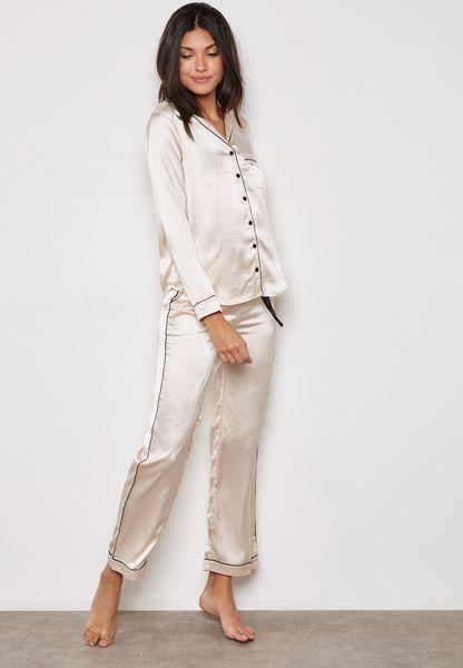 Piping Shirt & Pyjama Set