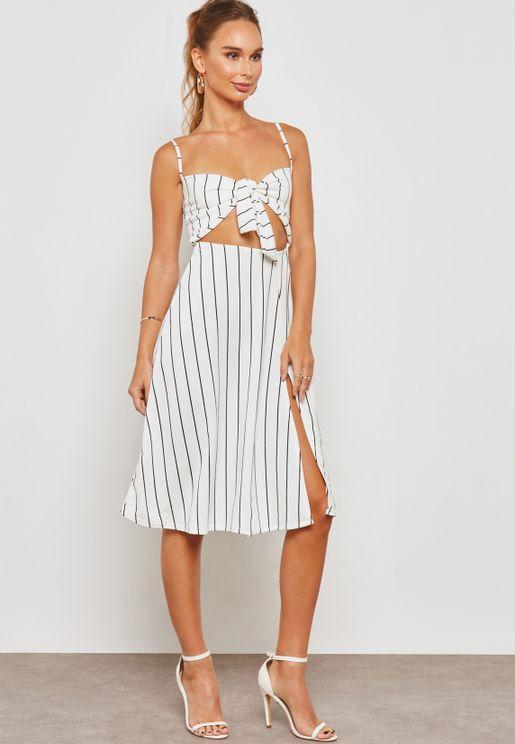 Front Tie Split Detail Striped Sleeveless Mini Dre