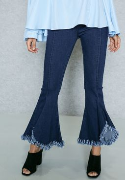 Flared Ripped Hem Jeans