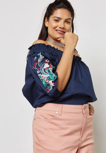 Embroidered Sleeve Shirred Bardot Top