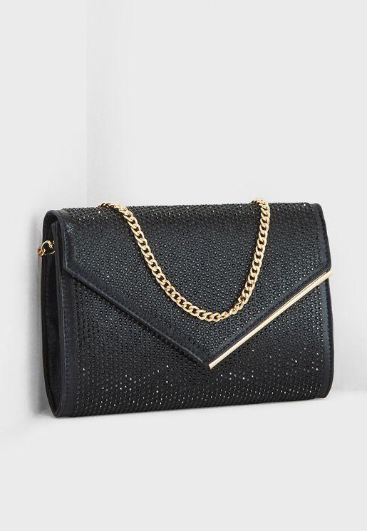 Evaleen Diamante  Envelope Clutch