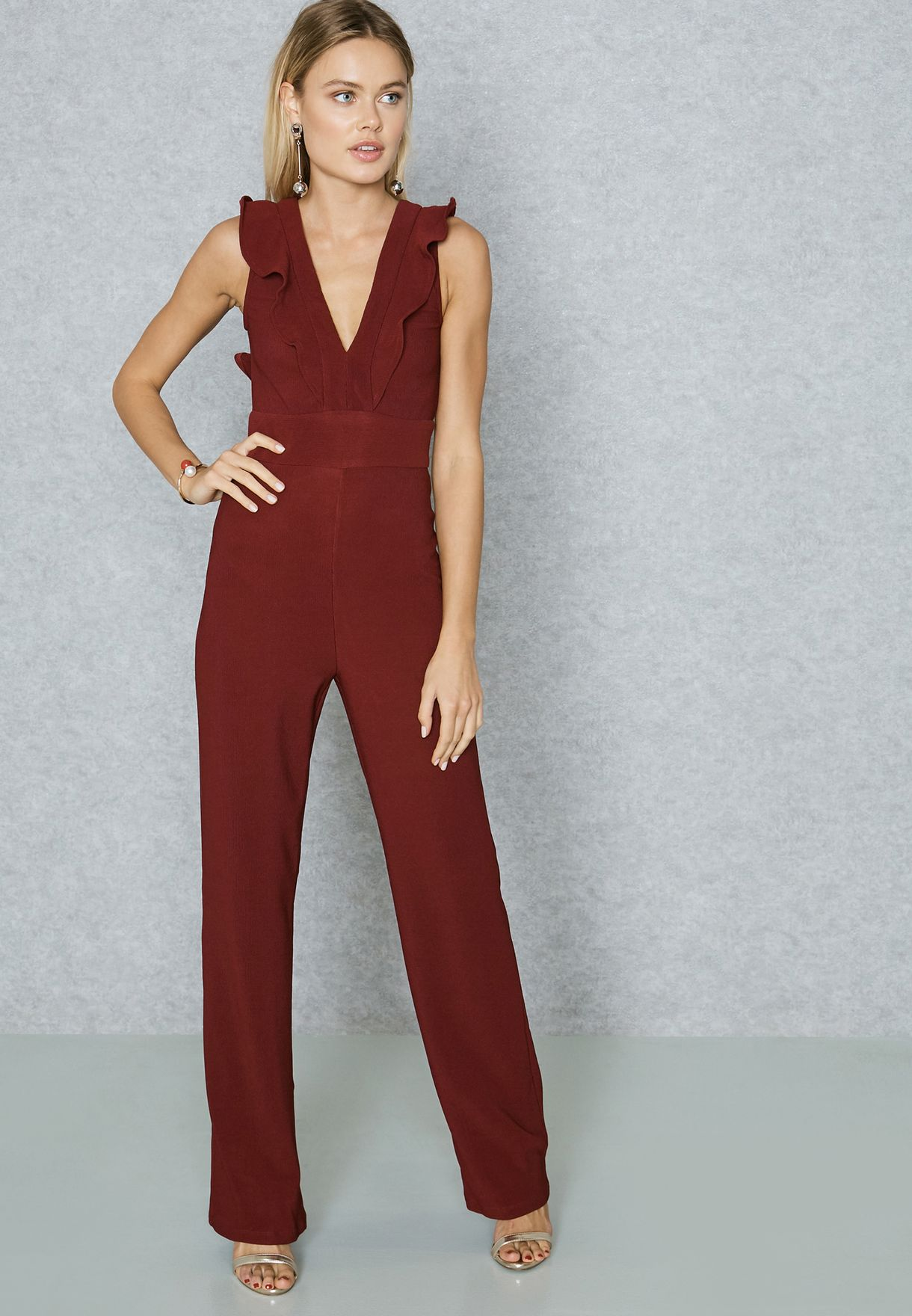 56b79bdc5d4 Shop Ginger red Ruffle Detail Jumpsuit VN8033 for Women in Oman ...