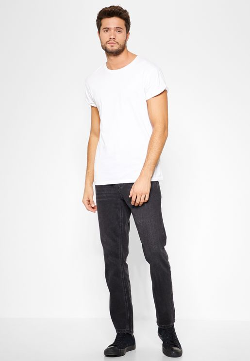 Washed Rigid Tapered Jeans