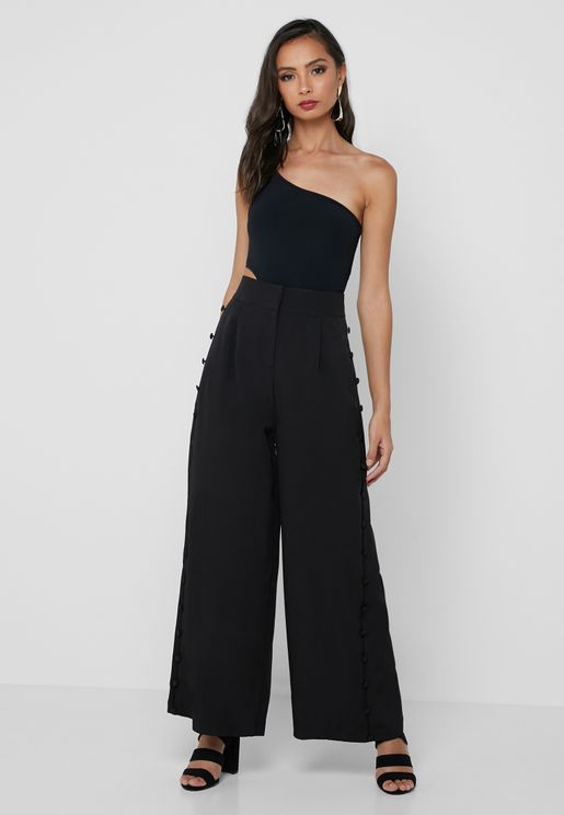 Wide Leg Button Front Pants