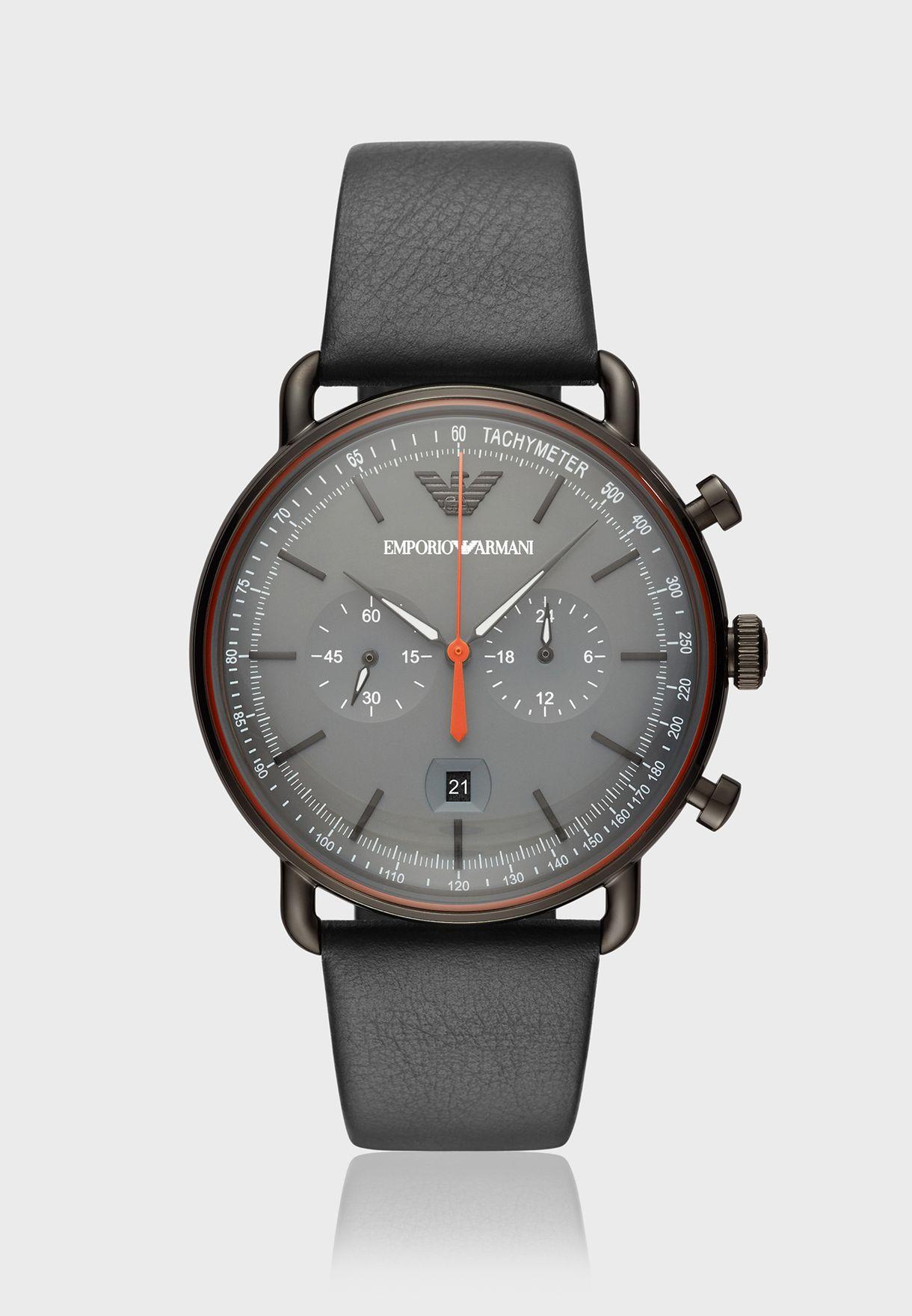 e2c14f470 تسوق ساعة جلد اصلي ماركة امبريو ارماني لون أسود AR11168 في عمان ...