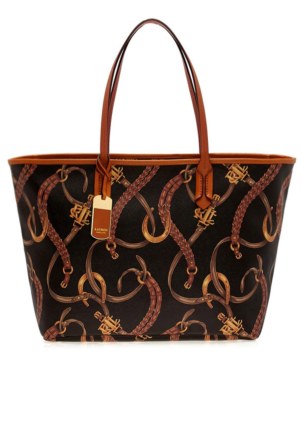 2122060040 Shop Lauren Ralph Lauren black Equestrian Print Tote 431173389KQN for Women  in Bahrain - LA457AC16FSH