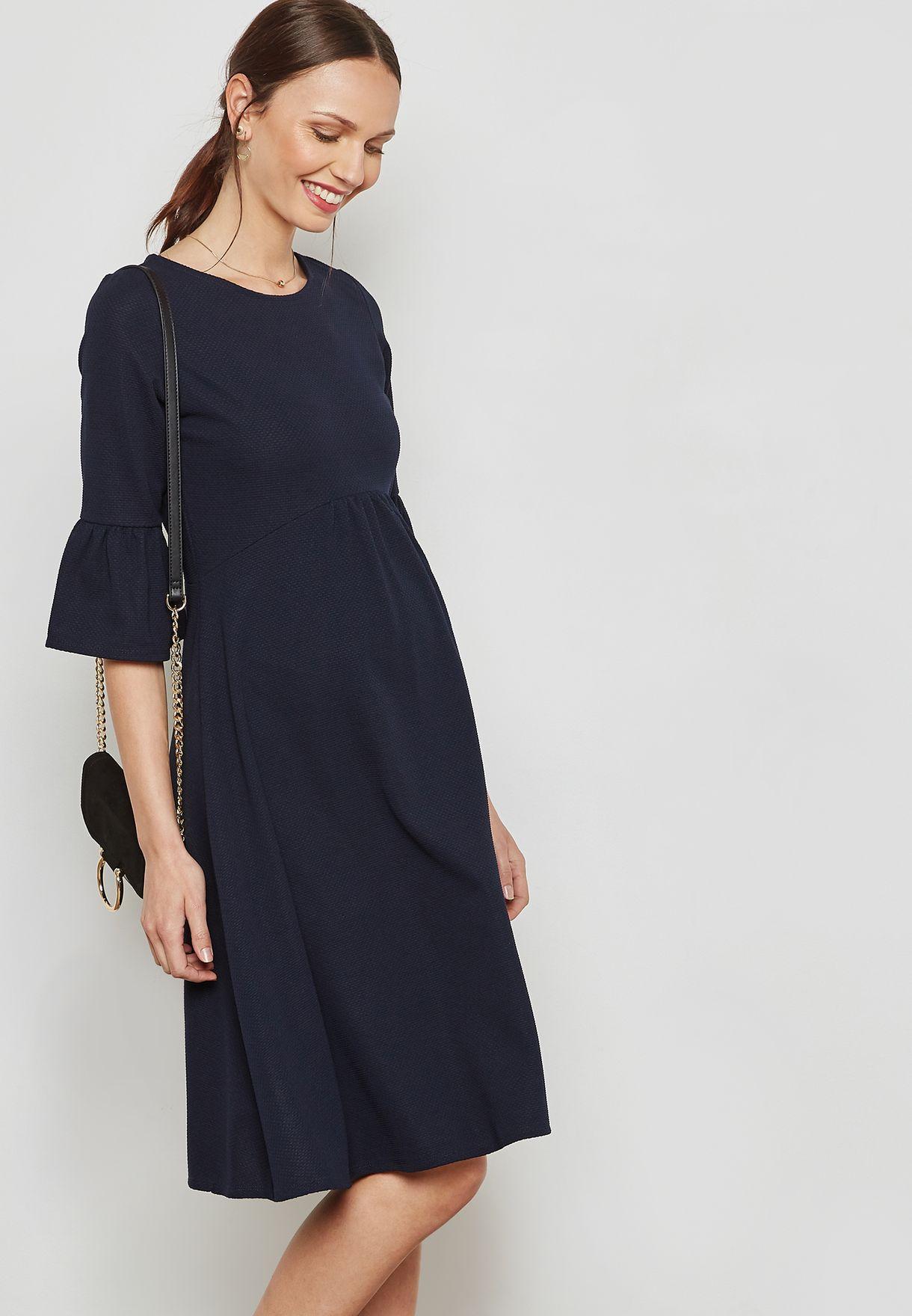c2c8a23ed2ccd Shop Dorothy Perkins Maternity navy Flute Sleeve Skater Dress 17359330 for  Women in Qatar - DO104AT16KLR