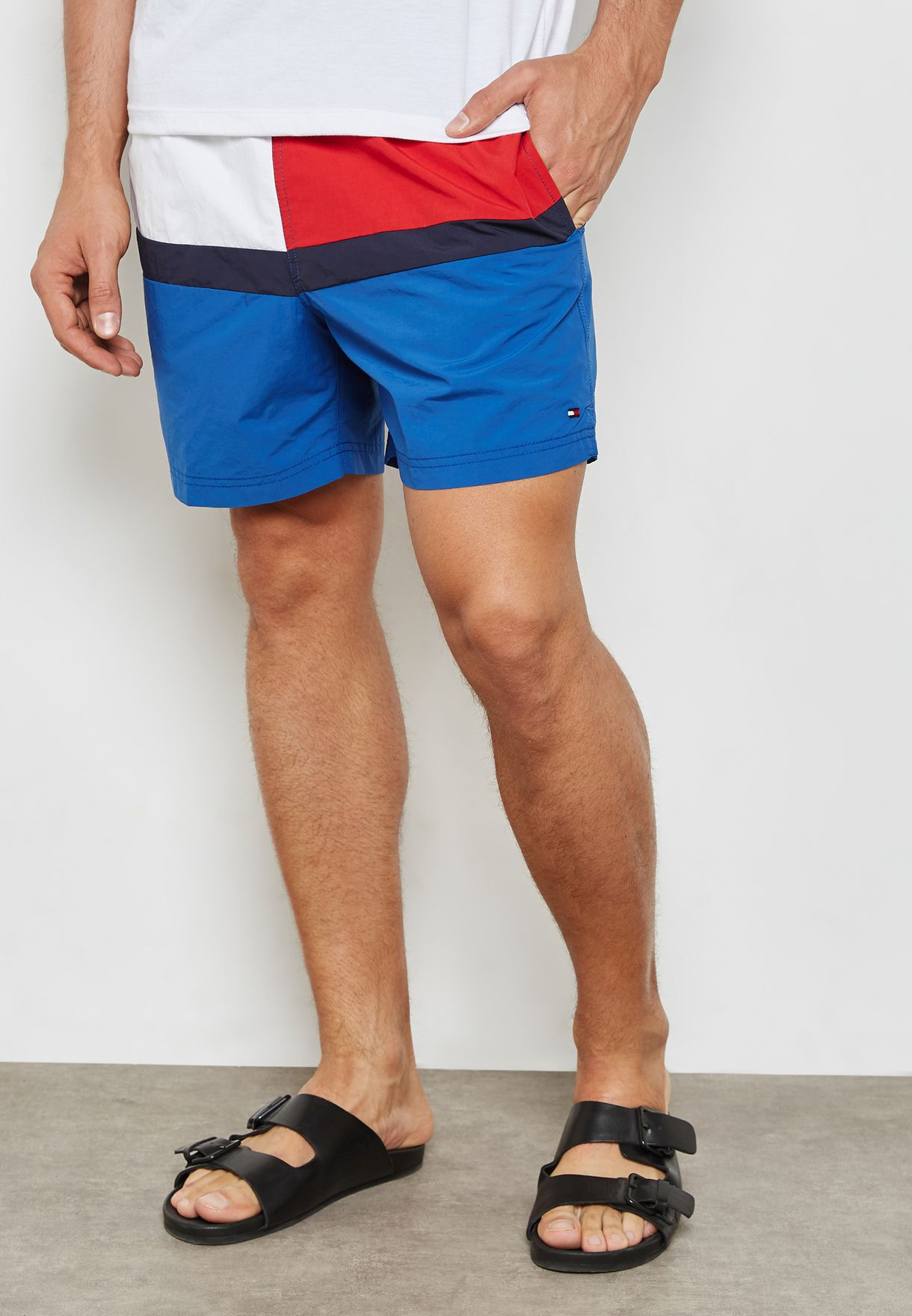 397428641fbe4 Shop Tommy Hilfiger blue Colorblock Drawstring Swim Shorts ...