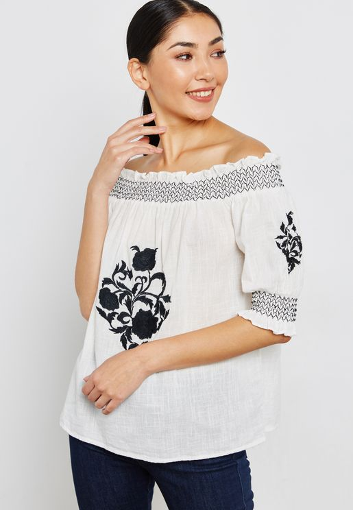 Embroidered Shirred Bardot Top
